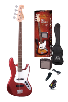 SX Electric Bass Guitar Pack JB Style w/15w Amp Candy Apple Red