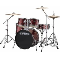 "Yamaha Rydeen Acoustic Drum Kit 22"" Burgundy Stool and Cymbals"