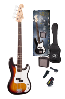 SX Electric Bass Guitar Pack PB Style w/15w Amp Sunburst
