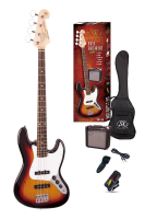 SX Electric Bass Guitar Pack JB Style w/15w Amp Sunburst