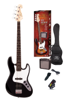 SX Electric Bass Guitar Pack JB Style w/15w Amp Black