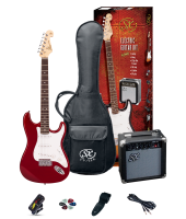 SX SE1SKCAR Electric Guitar Pack Red