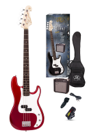 SX Electric Bass Guitar Pack PB Style w/15w Amp Candy Apple Red